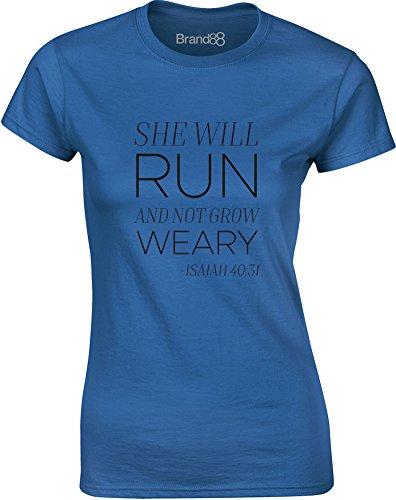 Brand88 - She Will Run, Gedruckt Frauen T-Shirt Königsblau/Schwarz