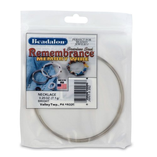 Beadalon Remembrance Memory Wire Necklace .62mm 0-1/4-Ounce/Pkg, Bright/Approx, 9 Loops by Beadalon -