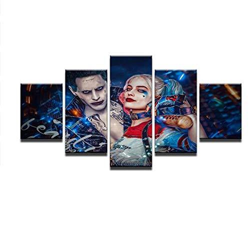 e 5 Panels Suicide Squad Joker Mit Harley Quinn Moderne Heimtextilien Drucken Hd Malerei Kunst (Größe 3) Kein Rahmen ()