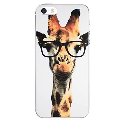 iPhone 5/5s Lustige Tiere Silikonhülle/Gel Hülle für Apple iPhone 5s 5 SE/Schirm-Schutz und Tuch/iCHOOSE / Giraffe Gläser