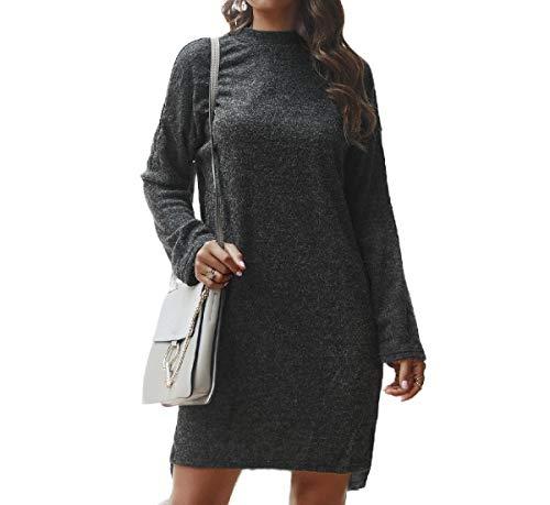 Energy Womens Plus Size Casual Top Knit Dress Mock Neck Sweater Black M (Knit Wrap Sweater Top)