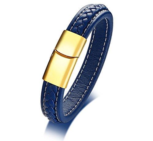 Vnox targhette in vera pelle fatte a mano in acciaio inossidabile blu personalizzate in polsini personalizzati bracciale con fibbia magnetica per uomo incisione donna