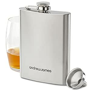 Andrew James - Flasque + Entonnoir - En Acier Inoxydable Brossé 304 Haute Qualité - 8oz / 230 ml