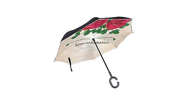 Folding Umbrellas Arri/ère Parapluie Voiture Double Couche ensoleill/ée et de la Pluie Inverse Parapluie Inverse Parapluie C-poign/ée arri/ère Parapluie Color : 1