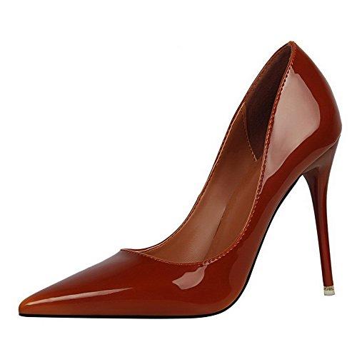 AalarDom Femme Matière Souple Couleur Unie Stylet Pointu Chaussures Légeres Couleur de Chameau-Verni