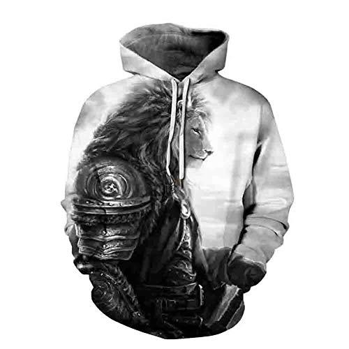 Morbuy Damen Herren Unisex 3D Druck Hoodie Kapuzenpullover Halloween, Kapuzenpulli Top Hoodies Langarm Sweatshirt Gym Kapuzenjacke mit Taschen (L/XL, Löwe)