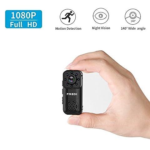 Mini Camera, FREDI HD 1080P Portable Mini Caméra IP Wifi de Surveillance, Caméra de Sécurité avec Batterie, Fonctions est Vision Nocturne Détection de Mouvement Alarme Babyphone