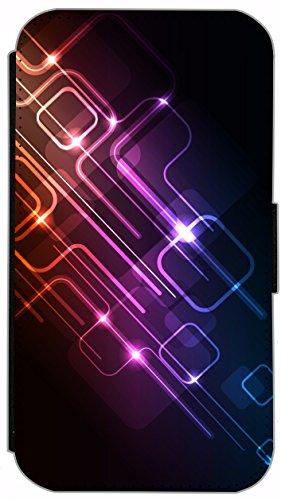 Kuna Flip Cover für Apple iPhone 5 / 5s Design K396 Farbspiel Blau Rot Grün Schwarz Hülle aus Kunst-Leder Handy Tasche Etui mit Kreditkartenfächern Schutzhülle Case Wallet Buchflip Rückseite Schwarz V K375