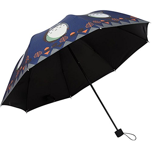 dunluluoyin-compact-travel-folding-umbrella-cartoon-totoro-print-uv-protection-for-kid-girl-darkblue