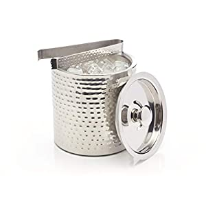 BarCraft Stainless Steel Ice Bucket with Lid and Tongs, 1.5 Litres (2.5 Pints) - Hammered Finish