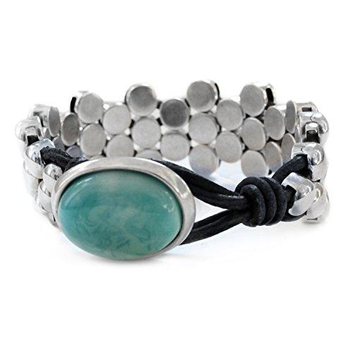 Beau Soleil Jewelry Schmuck Armband Lederarmband Damen Verschiedene Größen wählbar (Schwarz 19cm)