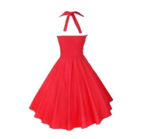 Brinny Damen Neckholder 50er Jahre Vintage-Kleid Retro Audrey Hepburn Rockabilly Kleid Rot