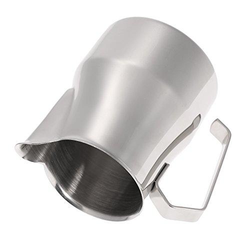 asentechuk® Edelstahl Profi Milch aufschäumen Krug Kaffee Cappuccino Latte Krug Messbecher 350ml silber - 2