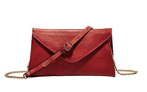 Genda 2Archer Bag Super Slim Vera Tracolla in Pelle Borsa Messenger per le Donne (24.5cm*2cm*14.5 cm) Rosso