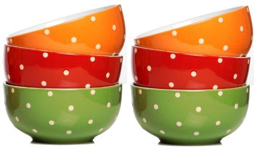 Ritzenhoff und Breker 736960 - Set di 6 tazze per cereali, a pois, colore: rosso/verde/arancione