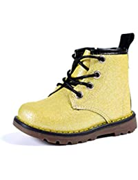 Calzado Martin Botas cómodas con Fondo Plano Antideslizante Zapatos con Cordones de Cuero Martin Botas Impermeables de otoño e Invierno Botas de Goma para niños