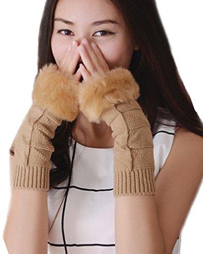 Minetom Donna Guanti Senza Dita Maglia Gloves Caldo Mittens Morbido