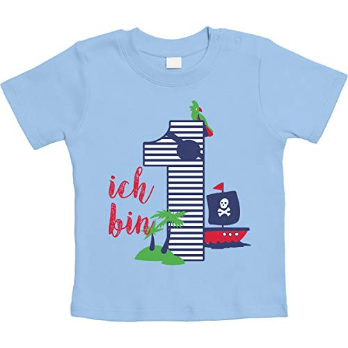 (Shirtgeil 1 Jahr Geburtstag Piraten Geschenk Unisex Baby T-Shirt Gr. 66-93 18-24 Monate / 93 Hellblau)