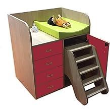 mobeduc cambiador con pasos y cajones, madera, rojo, 90x 105x 70cm