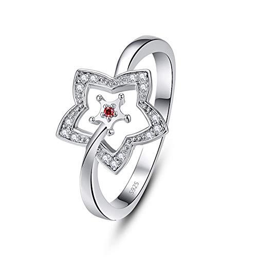 Hongding Granat Stern 925 Sterling Silber Ring Zirkonia Hochzeit Verlobungsring für Frauen
