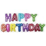 """مجموعة بالونات على شكل احرف بعبارة """"Happy Birthday"""" لزينة حفلات اعياد الميلاد، مصنوعة باغشية من الالومنيوم (متعددة الالوان)،"""