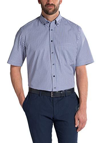 eterna Comfort Fit Herren Kurzarm Hemd blau beige kariert bügelfrei mit Brusttasche (43) - Beige-kariertes Hemd