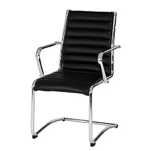 home24 office Chaise de salle d'attente Liam - Cuir synthétique noir