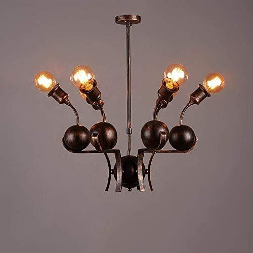 MAONB Amerikanischen Schmiedeeisen Wohnzimmer Restaurant Droplight Persönlichkeit Kreative Internet Cafe Pendelleuchte E27 Retro Industrielle Metallkugel Kronleuchter 6-Lichter -