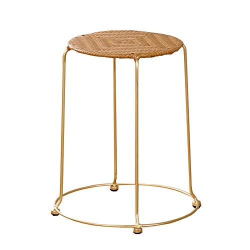 Hocker Licht Und Praktische Kunststoff Rattan Kleine Runde Hocker Stapelbar Haushalt Tischhocker Für Schuhe Bank WEIYV (Farbe : Yellow-Gold, größe : 38 * 45cm)