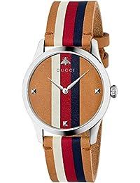 Gucci Hombre Reloj g-Timeless de Acero Inoxidable Correa de Cuero YA1264078 e07783c8c191