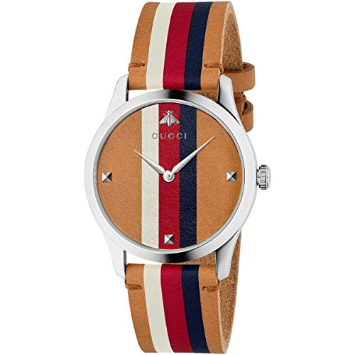 Gucci Hombre Reloj g-Timeless de Acero Inoxidable Correa de Cuero YA1264078