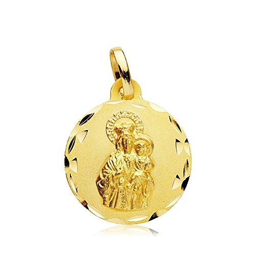 Medalla Oro 18K Virgen Carmen Tallada 18mm. [Ab2459]