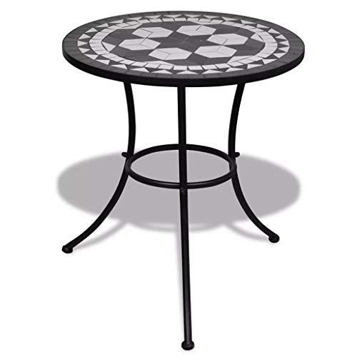 Wakects Outdoor Mosaik-Tisch, runder Outdoor Garten Bistro Kaffeetisch für Terrasse Balkon Möbel