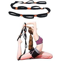 5BILLION Stretch Strap - Ancho de 4 cm - Terapia física, mayor flexibilidad y aptitud - Múltiples lazos de agarre (naranja)