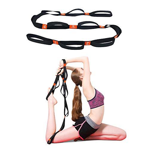 5BILLION Yogagurt - 4cm Breite - Stretchgurt mit Mehreren Grip Loops - Ideal für Heißes Yoga, Körperliche Therapie, Größere Flexibilität & Eignung-Training (Orange)