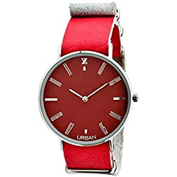 URBAN Quartz Steel Watch zu008a Zzero Quandrante Burgundy Leather Strap