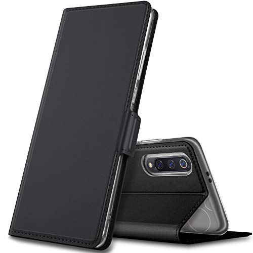GEEMAI Diseño para xiaomi Mi 9 Funda, Protectora PU Funda Multi-ángulo a Prueba de Golpes y Polvo a Prueba de Silicona con Soporte Plegable Apto para xiaomi Mi 9 Smartphone. (Negro)