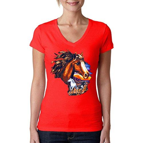 Fun Girlie V-Neck Shirt - Pferde bei Sonnenuntergang by Im-Shirt Rot