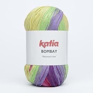 Katia bombay 2026 flower print pelote de laine gris 100 g