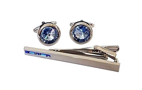 Covink® Swarovski Crystal Tie Clip Blue and White Crystal Cufflinks and Tie Clip Set (Blue Set)