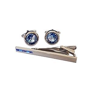 Covink® Swarovski Kristall-Krawatten-Klipp-Blaue und weiße Kristallmanschettenknöpfe und Binden-Klipp-Satz