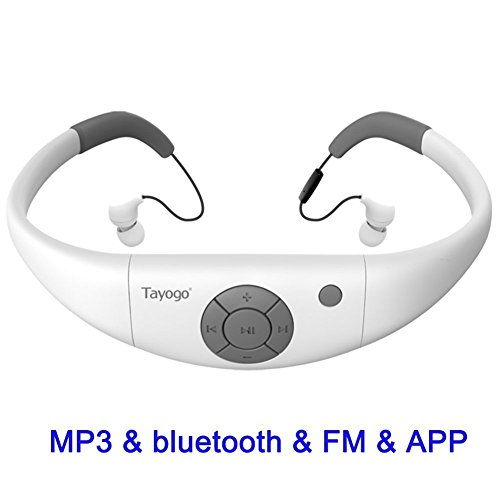 Tayogo MP3 Headphones 8GB IPX8 Waterproof Ultra-light FM Bluetooth 4.2 HI-FI Underwater 3m Pedometer APP U Disk for Swimming Running Riding Walking SPA and other Water Sport (White W12)