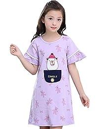 Camisones Ropa De Dormir para Niñas 100% Algodón Albornoz para Niños Verano para Niños Servicio En Casa Puede Usar Afuera (Color…