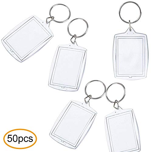 Contever Foto Schlüsselbund Acryl Leer Schlüsselring Kunststoff Transparent Bilderrahmen Schlüsselanhänger Klar Spalten Schlüsselanhänger Lichtbild Größe, 4 cm x 5,5 cm (50 Stück)