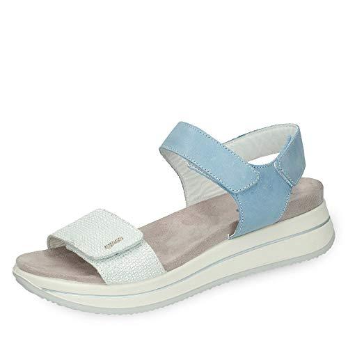 Igi & Co 3169511 DSD 31695 Damen Sportive Sandale aus Glatt-Veloursleder Klett, Groesse 40, hellblau/Silber