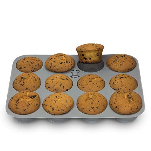 BackeFix Muffinblech 12er Muffinform Muffin Backform Silikon mit Antihaftwirkung – flexibel ohne Fett und Papier Ø 7cm