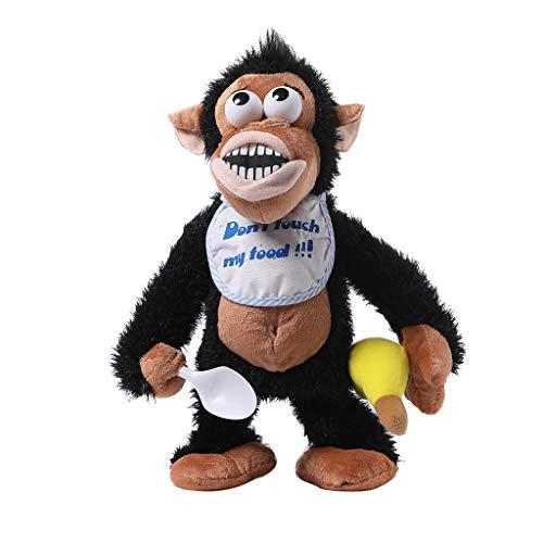 Dkings Crying Monkey Elektronisches Stofftier - Nimm Nicht Seine Banane! AFFE Elektronisches Kuscheltier Spielzeug Entwicklungsbaby Spielzeug Elektrisches Gehen Tanzen Bananenaffe (Black) - Elektrische Banane