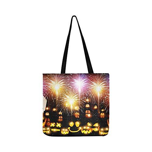 Halloween Feuerwerk Kürbis Leinwand Tote Handtasche Schultertasche Crossbody Taschen Geldbörsen Für Männer Und Frauen Einkaufstasche