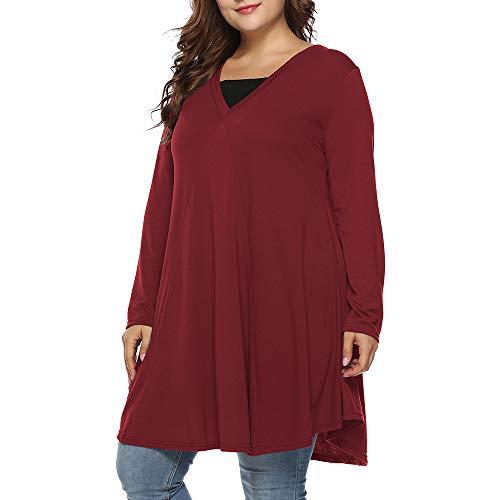 MA87 Plus Size Frauen Herbst Casual Langarm V-Ausschnitt Bluse ()