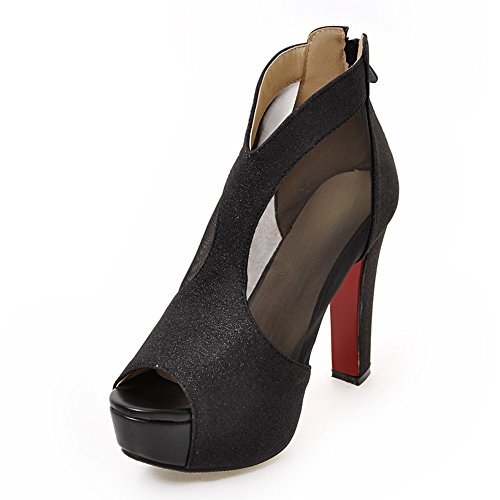 Damen Pumps Peep-Toe High-Heel Stiletto D'Orsay&Two-Piece Plateau Schwarz